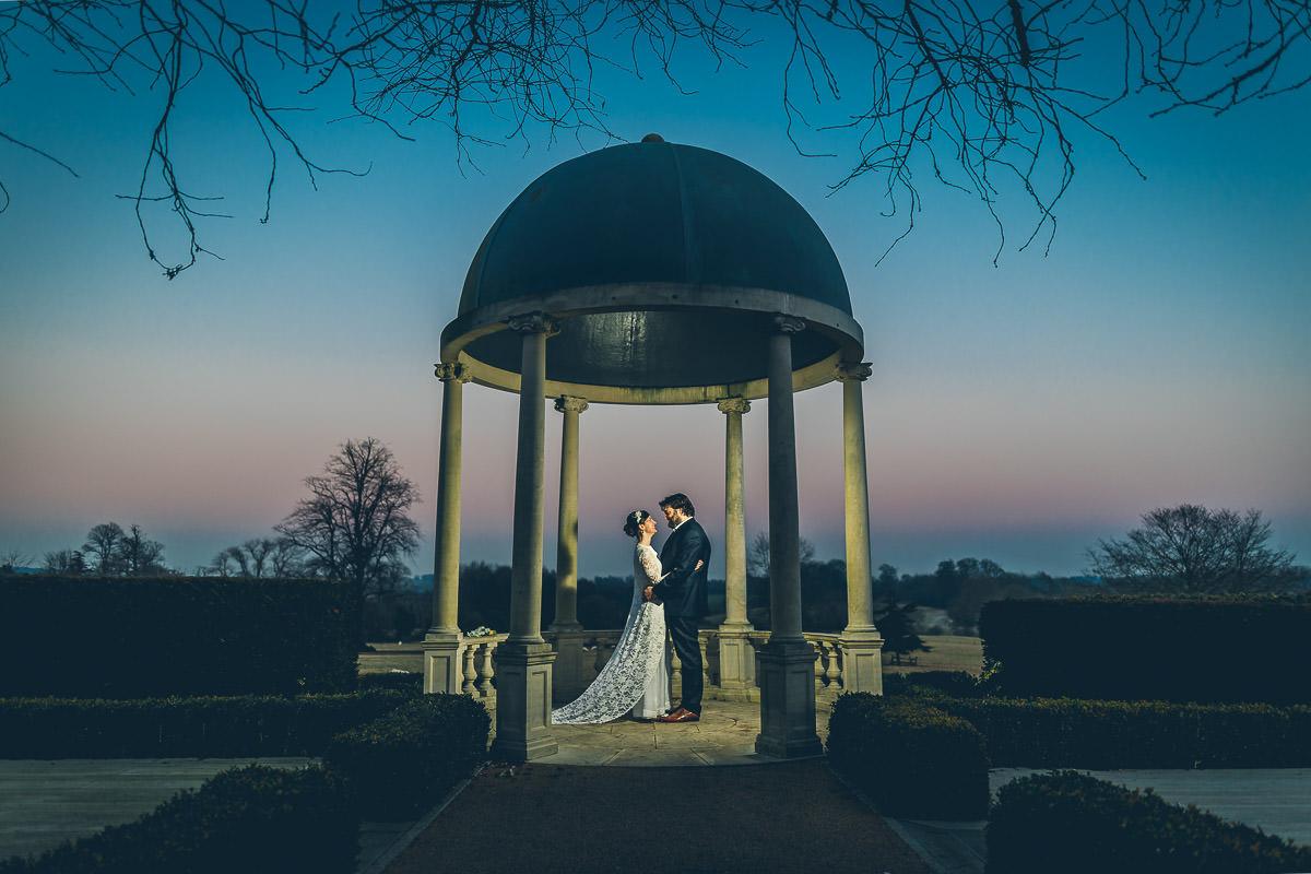 Froyle Park Wedding Portrait in the garden gazebo