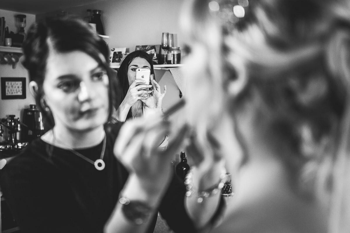 Final applications of bridal makeup