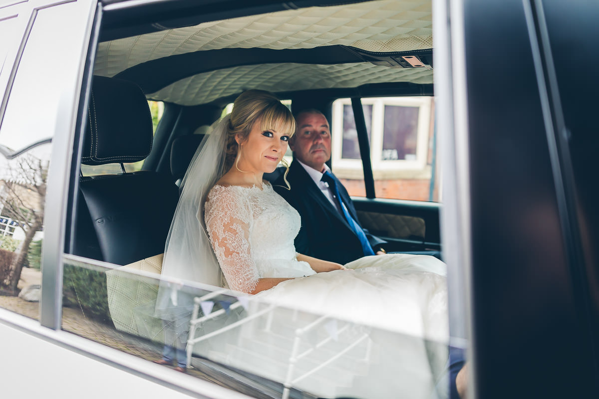 Bride in Range Rover
