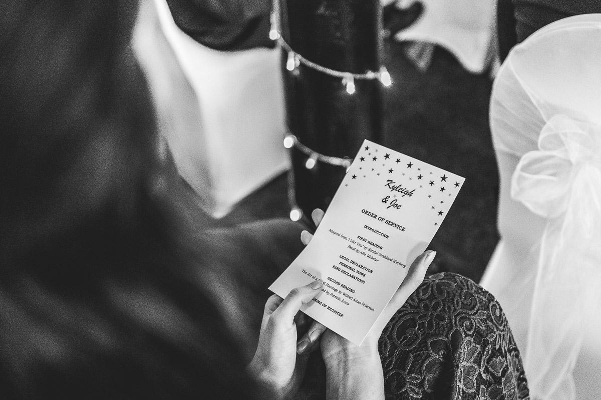 Wedding service running order