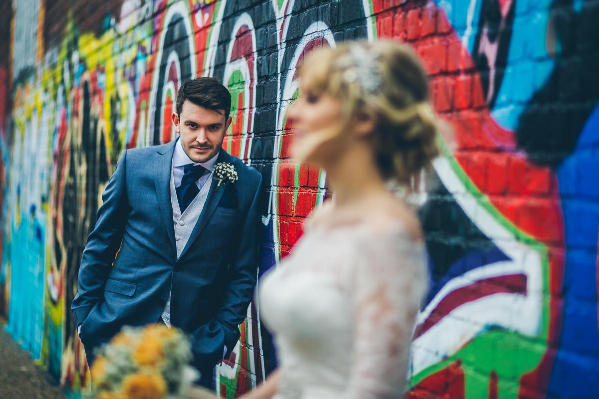 Birmingham wedding portrait with graffiti