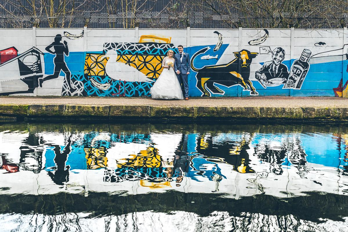 Bridal graffiti portrait in Birmingham