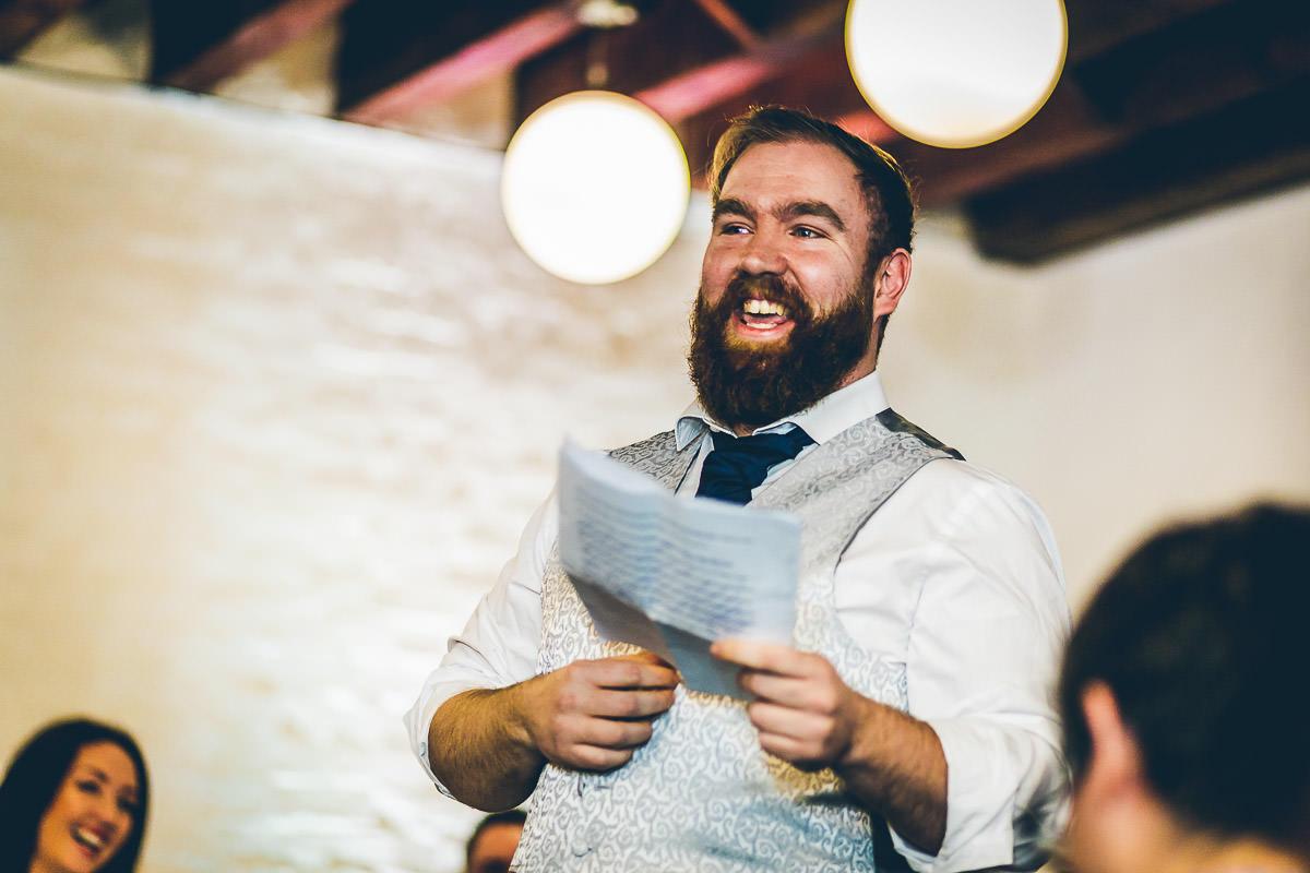 Best man giving wedding speech