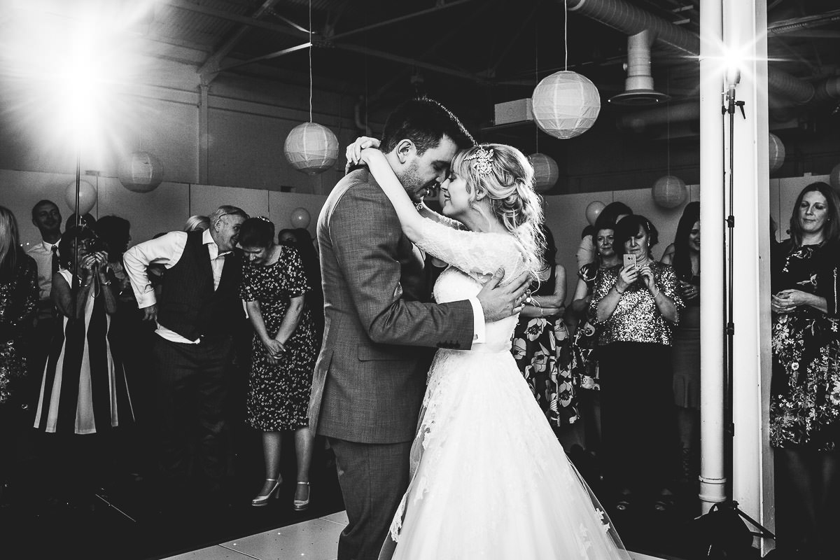 Black nd white first dance photo