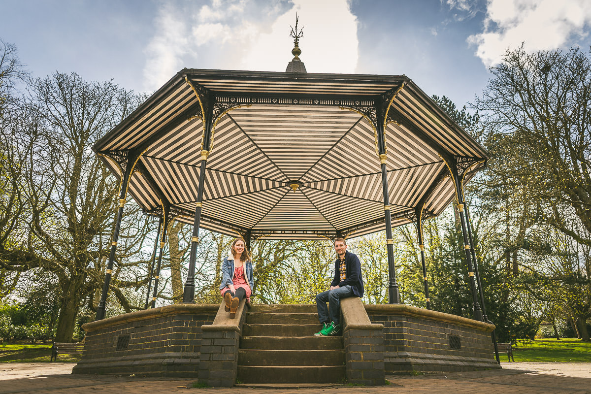 Engagement photoshoot at Cannon Hill Park bandstand